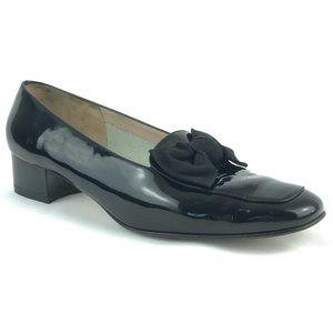 Ferragamo Patent Leather Bow Loafers Black Heel